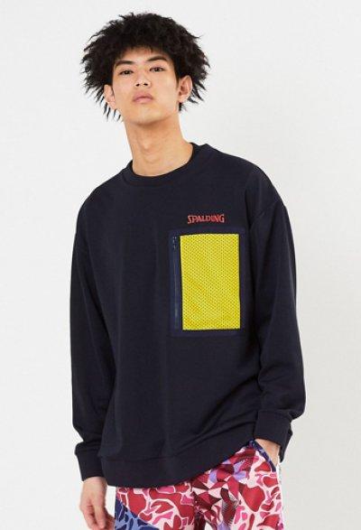 画像1: クルーネックスウェットシャツ メッシュポケット Nvy SMJ201430-5400 Spalding スポルディング スウェット アウトウエア ウエア  【MEN'S】