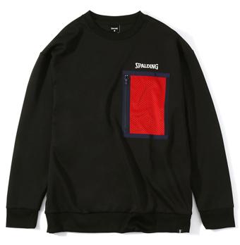 画像1: クルーネックスウェットシャツ メッシュポケット Blk SMJ201430-1000 Spalding スポルディング スウェット アウトウエア ウエア  【MEN'S】 (1)