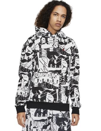 画像1: Jordan Essential Fleece AOP PO Hoodie Wht/Blk A9814-100 Jordan ジョーダン パーカー アウトウエア ウエア 秋冬物  【海外取寄】【MEN'S】 (1)